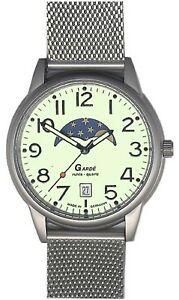 腕時計 ガードムーンフェイズムーンフェイズウォッチウォッチgarde ruhla herrenuhr mit mondphase und datumsanzeige real moonphase watch 37mm