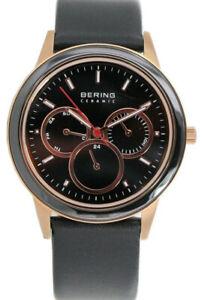 【送料無料】腕時計 ベーリングメンズセラミッククォーツクロノステンレススチールブラックレザーウォッチ