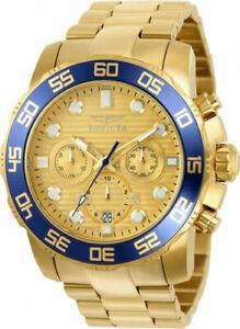 【送料無料】腕時計 メンズプロダイバークロノグラフゴールドトーンステンレススチールウォッチinvicta mens pro diver chronograph 100m gold tone stainless steel watch 22227