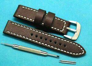 【送料無料】腕時計 スプリングバーリムーバーツールステッチウォッチストラップ20mm brown leather white stitched watch strap with spring bar remover tool