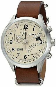 【送料無料】腕時計 メンズクォーツクロノグラフブラウンレザースリップストラップウォッチtimex mens tw2r55100 quartz chronograph brown leather slipthru strap watch
