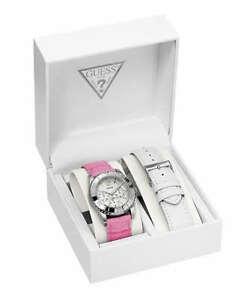 【送料無料】腕時計 スワロフスキークリスタルシルバーレディピンクホワイトレザーストラップ guess swarovski crystal ss silver lady watch pink white leather strap date