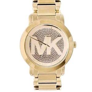 【送料無料】腕時計 ミハエルロゴゴールドトーンスチールウォッチmichael kors womens runway mk logo glitz gold tone steel watch 45mm mk3462