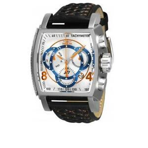 【送料無料】腕時計 ラリーメンズブラックオレンジアナログクロノグラフレザーウォッチ