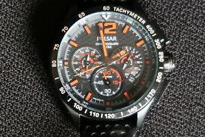 【送料無料】腕時計 パルサークロノグラフブラックウォッチオレンジレザーストラップクラシック