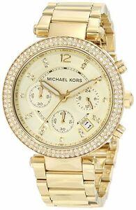 【送料無料】腕時計 michael kors mk5354 parker glitz gold tone pave chronograph watch