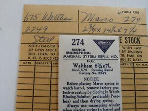 【送料無料】腕時計 ビンテージウォルサムモデルメインウォッチスプリングvintage nos waltham model 675 wrist watch mainspring, part 2249