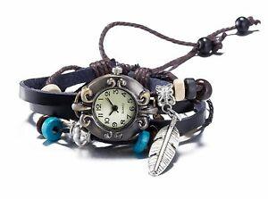 【送料無料】腕時計 レザーラップブレスレットweave wrap leather bracelet wrist watch