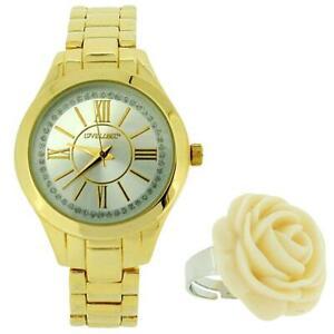 【送料無料】腕時計 レディースゴールドトーンメタルブレスレットストラップラベルローズリングウォッチlove label ladies gold tone metal bracelet strap watch with rose ring bx8310ll