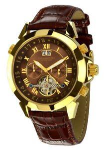 【送料無料】腕時計 ブラウンゴールドユニークcalvaneo 1583 astonia brown mountain luxury gold einzigartige automatikuhr
