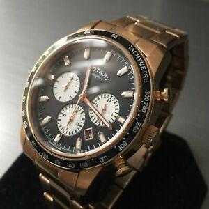 【送料無料】腕時計 ロータリースポーツメンズウォッチクロノグラフローズゴールドブラックスチール