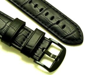 【送料無料】腕時計 ミリブラックエンボスレザーウォッチストラップブラックバックル