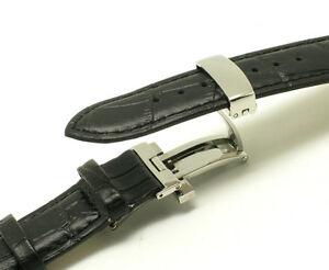 腕時計 ワニレザーウォッチストラップステンレスバタフライクラスプ
