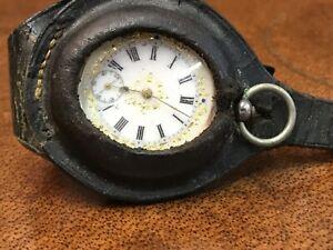 【送料無料】腕時計 シルバーフォブケースレザーウォッチストラップsilver fob watch in leather strap wrist case
