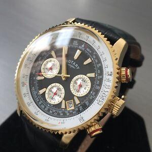 【送料無料】腕時計 メンズロータリーウォッチクロノグラフブラックレザースチール