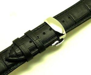【送料無料】腕時計 ミリブラックエンボスレザーメンズウォッチストラップステンレスクラスプ