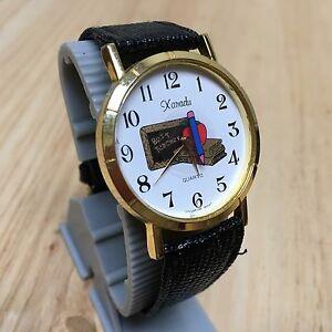 【送料無料】腕時計 ビンテージアナログクォーツザナドゥメンズウォッチゴールドトーンテーマバッテリーvintage xanadu mens gold tone school themed analog quartz watch hour~ battery