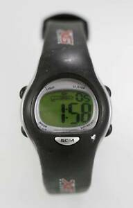 【送料無料】腕時計 ウォッチライトアラームブラックラバークォーツストップウォッチ