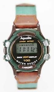 【送料無料】腕時計 アクアライトグリーンブラウンクロノレディースクォーツストップライトアラームaqualite watch womens green brown chrono date light alarm stopwatch 30m quartz