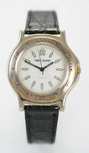 【送料無料】腕時計 タイムズスクエアメンズブラックレザーシルバーステンレスレジスト