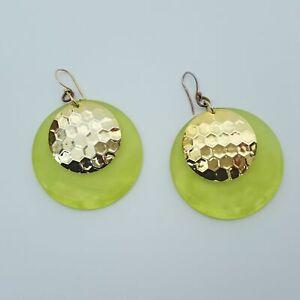 【送料無料】腕時計 ファッションアクリルグリーンゴールドトーンカボションラウンドイヤリングドロップfashion acrylic green gold tone cabochon round drop dangle earrings