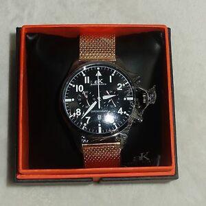 【送料無料】腕時計 ケイメンズクロノグラフブラックメッシュローズゴールドウォッチ