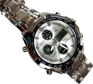 【送料無料】腕時計 ダデジタルグラフィックorologio da polso cs b205 uomo analogico digitale cronografo quarzo silver lac