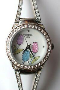 【送料無料】腕時計 トロンベゼルarmitron now flower watch w cz bezel 753713sv y121e3 working