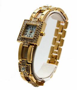 【送料無料】腕時計 #ザナドゥスクエアクリアケースアナログウォッチwomen039;s xanadu gold plated clear crystal stones square case analoge watch