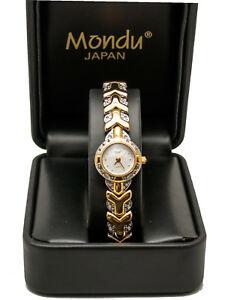 【送料無料】腕時計 ゴールドシルバーラウンドケースアナログウォッチmonduwomens gold and silver finish round case analog watch