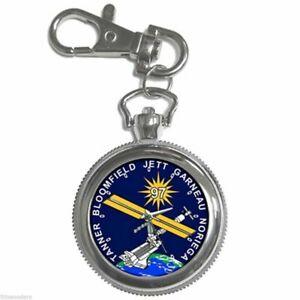 【送料無料】腕時計 スペースシャトルエンデバーステーションラウンドシルバーメタルキーチェーンウォッチnasa sts97 space shuttle endeavour station round silver metal key chain watch