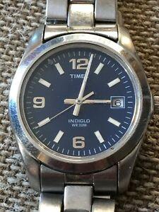 【送料無料】腕時計 montre timex indiglo acier cadran bleu date