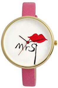 【送料無料】腕時計 レディースピンクミセス#damenuhr wei rosa rot schwarz gold 034;mrs034; kuss lippen liebe d60463615227500