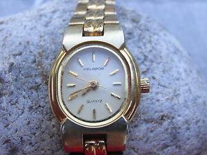 【送料無料】腕時計 ラブレスレットhelbros,la montre us des annee seventies dame,1 rubis,bracelet mailles assorti