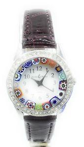 【送料無料】腕時計 ムラーノウォッチドナコンorologio donna acciaio pelle watch in vetro di murano murrina millefiori con str
