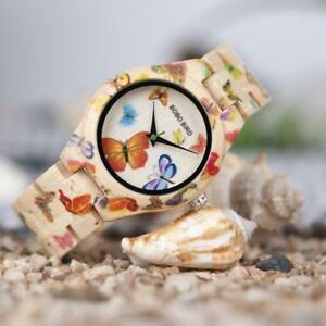 【送料無料】腕時計 lady wooden quartz watch bamboo butterfly paintings
