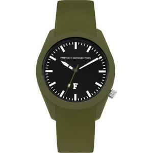 【送料無料】腕時計 フレンチコネクションレディースカーキマットブラックシリコンウォッチストラップウォッチ