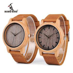 【送料無料】腕時計 ボボビンテージレザーbobo bird vintage lightweight bamboo wood quartz watch leather gifts for him son