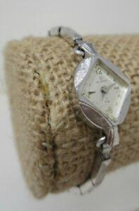 【送料無料】腕時計 ビンテージkホワイトレディースvintage helbros 21 jewels 10k white rgp ladies wristwatch runs