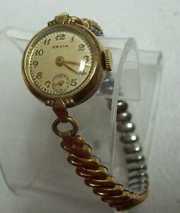 【送料無料】腕時計 ビンテージレディースゴールドvintage orvin ladies gold filled watch
