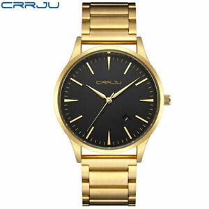 【送料無料】腕時計 ゴールドビジネスユニークウォッチcrrju gold watch men luxury business man watch golden waterproof unique fashi