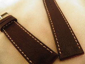 【送料無料】腕時計 ブレスレットハーモニーマロンブランシュ20 mm confortable bracelet agneau vritable marron fonc couture blanche