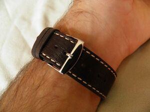 【送料無料】腕時計 ブレスレットハーモニーマロンブランシュ22 mm confortable bracelet agneau vritable marron fonc couture blanche