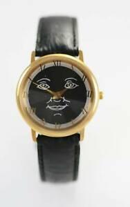 【送料無料】腕時計 ブラックメンズステンレススチールゴールドブラックレザークォーツバッテリーウォッチ