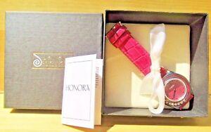 【送料無料】腕時計 パールピンクステンレススチールnib honora quartz mother of pearl pink leather amp; stainless steel watch ~ 3642