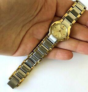 【送料無料】腕時計 ビンテージセルトーンウォッチリストvintage timex cr1216 cell k5 two tone womens quartz watch runs small wrist