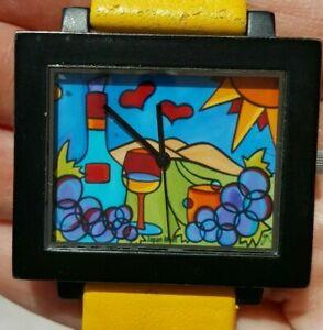 【送料無料】腕時計 ワインサンワイナリーガラスsonya paz glass of wine grapes sun collectible art watch winery yellow leather