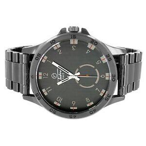 【送料無料】腕時計 メンズカジュアルウェアブラックアナログステンレススチールバックアジャスタブルウォッチリンク