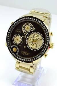 【送料無料】腕時計 ゴールドブラックラウンドビッグタイムゾーンロンドンメンズビッグ