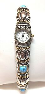 【送料無料】腕時計 ビンテージザナドゥシルバートーンターコイズvintage xanadu quartz silvertone turquoise wristwatch works great